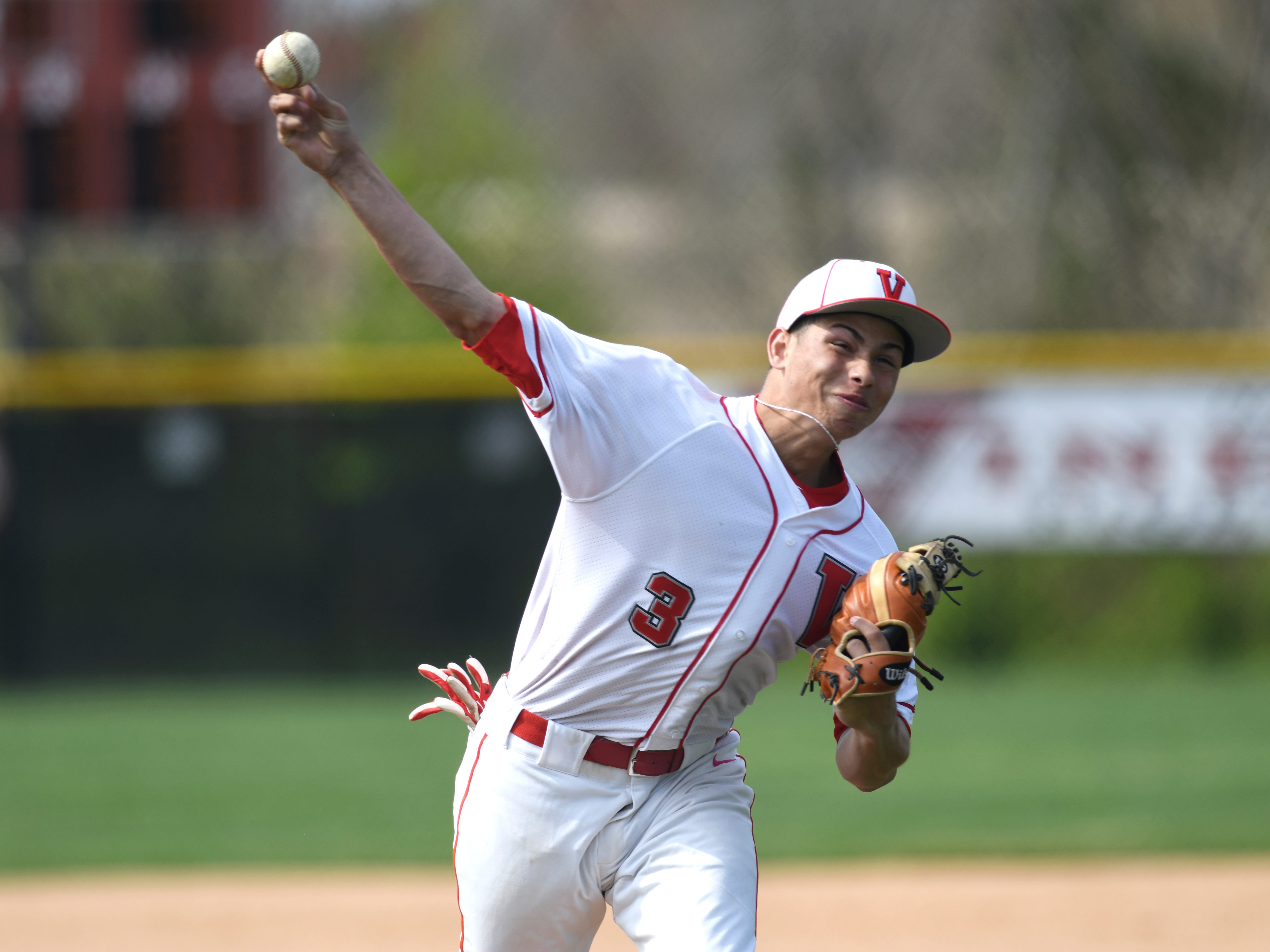 Vineland's Andrew Rodriguez warms up on the mound before Wednesday's matchup against Atlantic City. The Fighting Clan topped the visiting Vikings, 12-2.