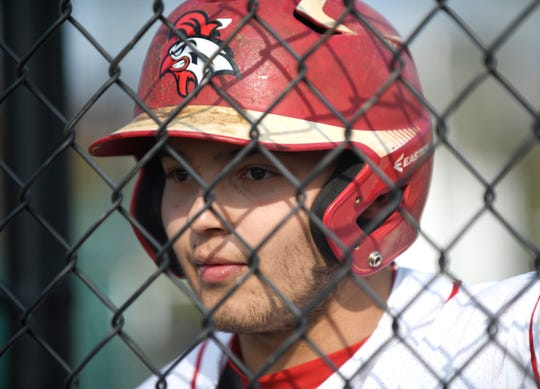 Vineland's Hector Perez on deck to bat in a game against Atlantic City on Wednesday. The Fighting Clan topped the Vikings 12-2.
