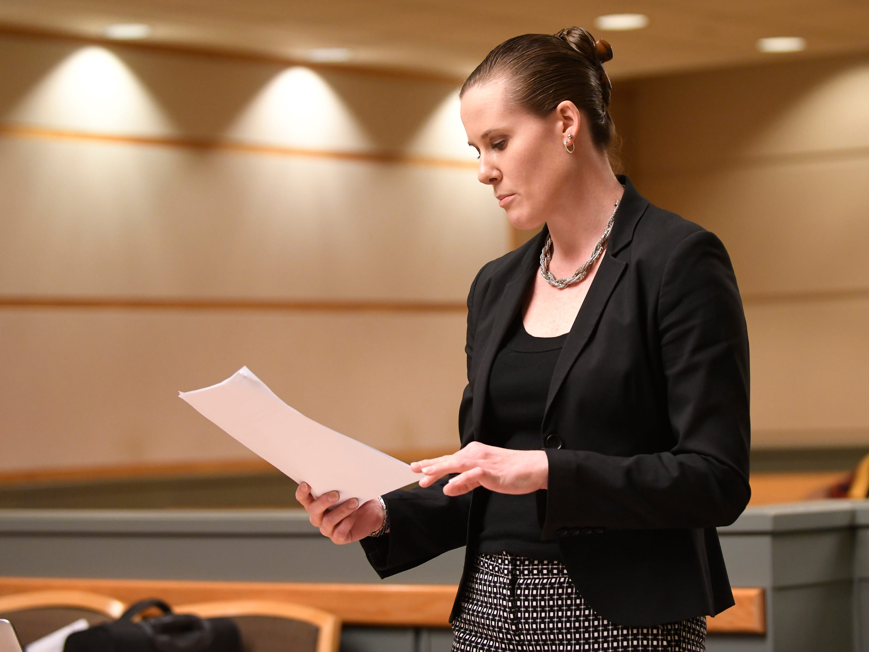 Assistant Prosecutor Meghan Price speaks during Leonard J. Zawojski's hearing in Cumberland County Superior Court on Thursday, April 18, 2019. Zawojski is charged with using a Taser to sexually assault a woman.