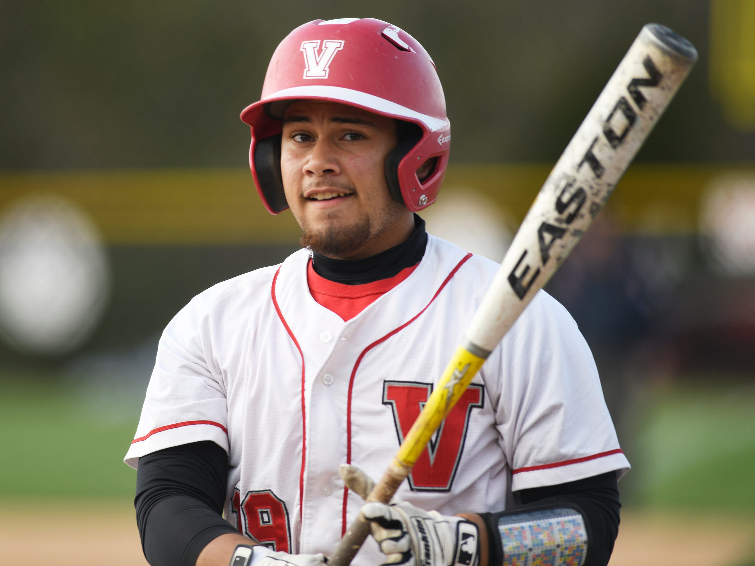 Vineland's Steven Gonzalez ready to bat in a game against visiting Atlantic City on Wednesday. The Fighting Clan topped the Vikings 12-2.