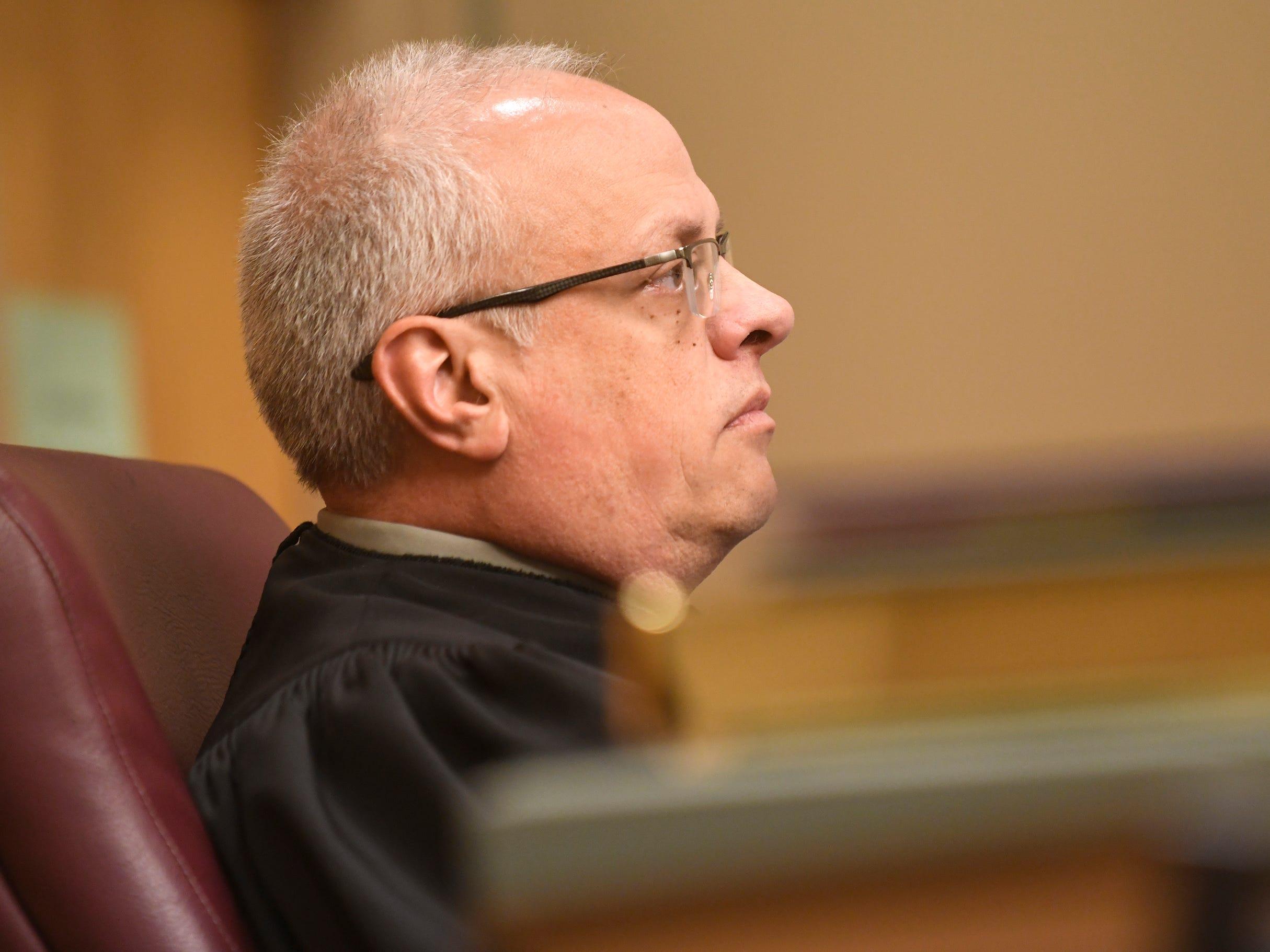 Judge Cristen D'Arrigo listens to Assistant Prosecutor Meghan Price during Leonard J. Zawojski's hearing in Cumberland County Superior Court on Thursday, April 18, 2019.