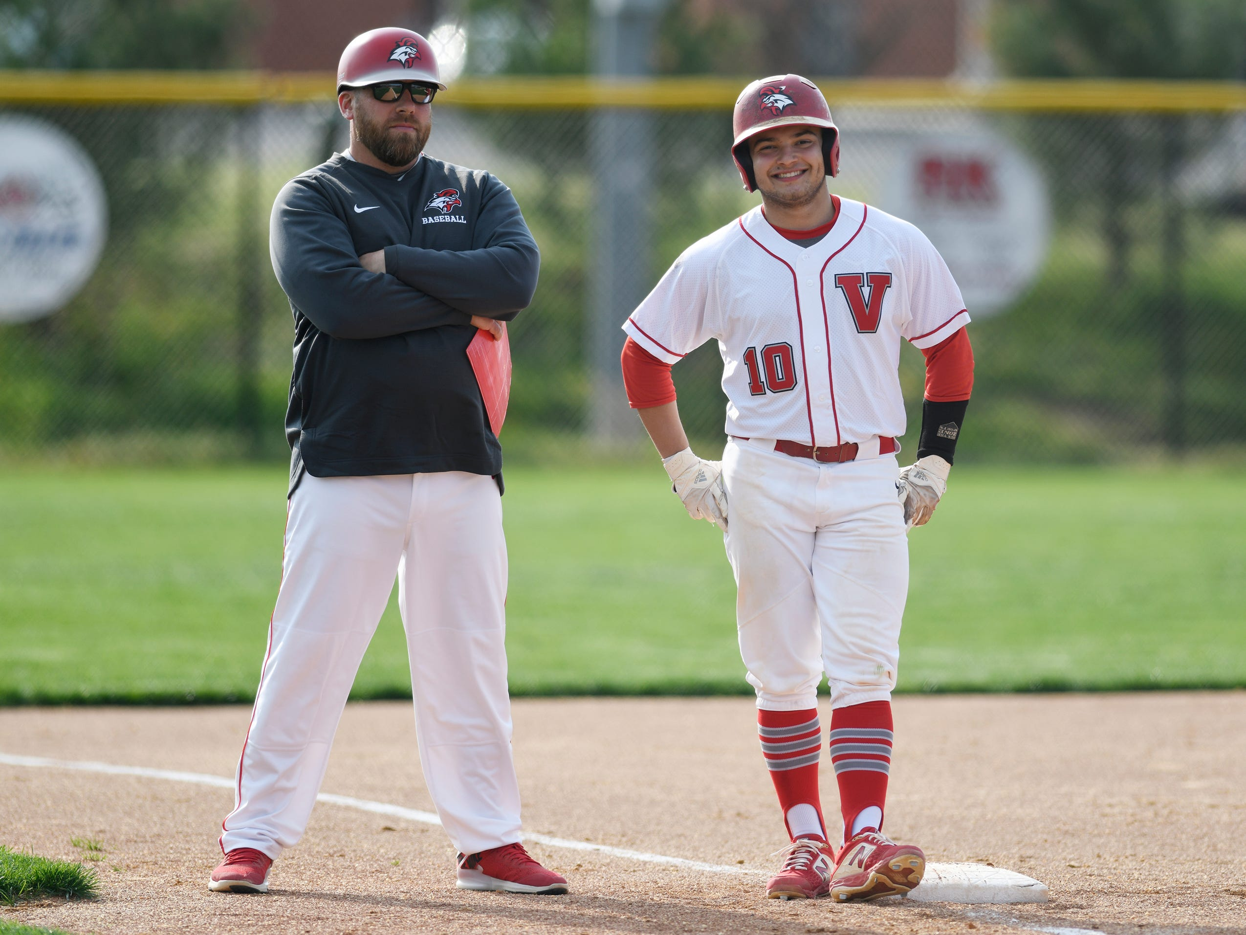 Vineland's Hector Perez on third in a game against Atlantic City on Wednesday. The Fighting Clan topped the Vikings 12-2.