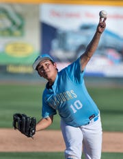 Monache's Aaron Hernandez pitches against Mission Oak in the 35th annual Tulare/Visalia Pro-PT Invitational lower-division championship baseball game at Recreation Park on Wednesday, April 17, 2019.