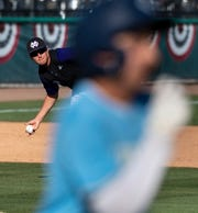 Mission Oak's Nick Alvarado looks to out a Monache runner in the 35th annual Tulare/Visalia Pro-PT Invitational lower-division championship baseball game at Recreation Park on Wednesday, April 17, 2019.
