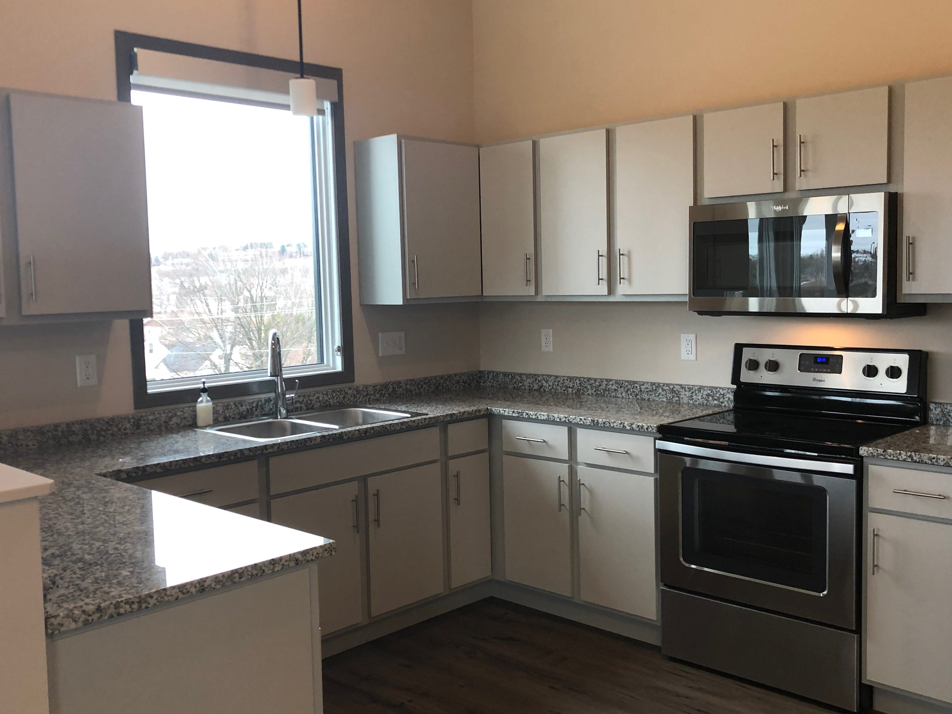 A kitchen in the Urban West apartment complex.