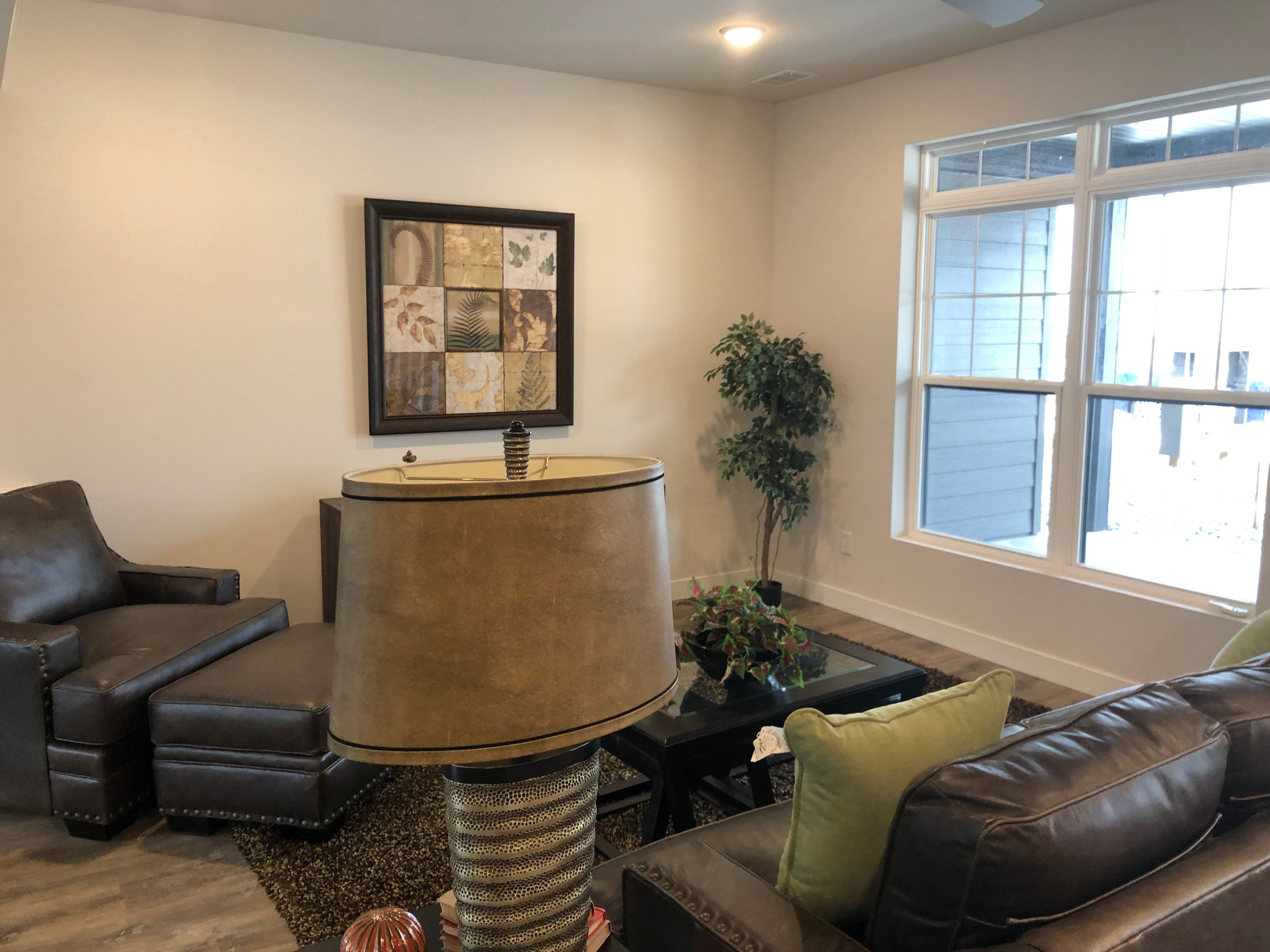 A living room in the River East Town Homes.
