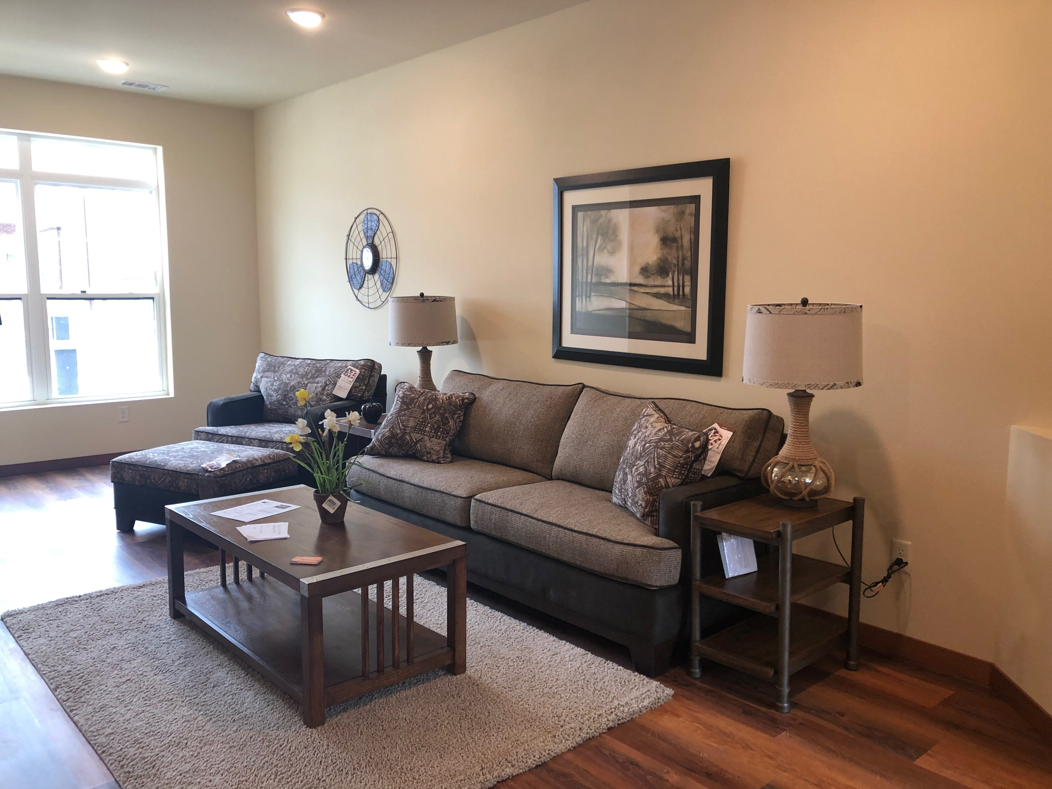 A staged living room area in the River East Town Homes.