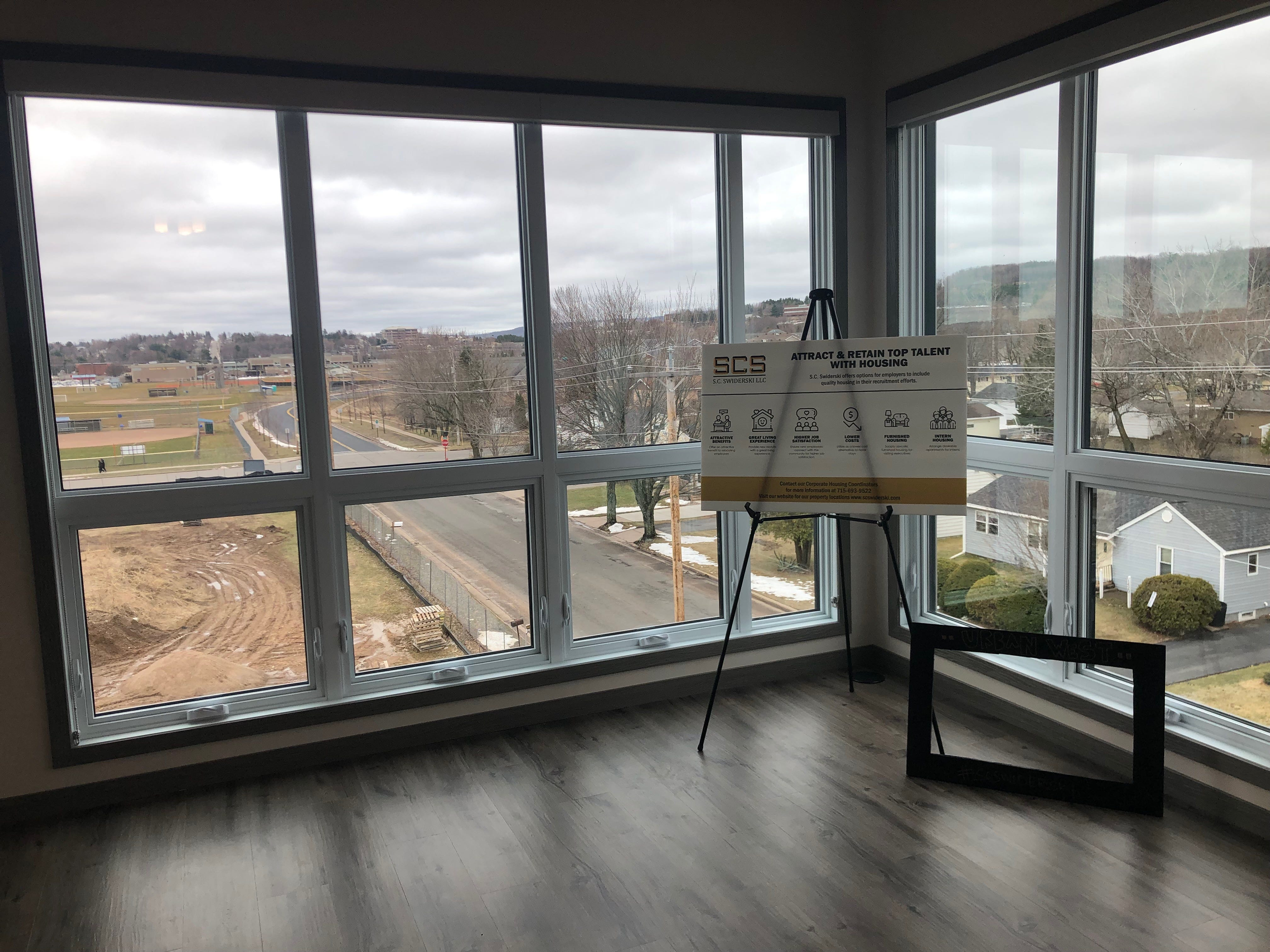 A view from a corner unit in the Urban West complex, overlooking Wausau West High School.