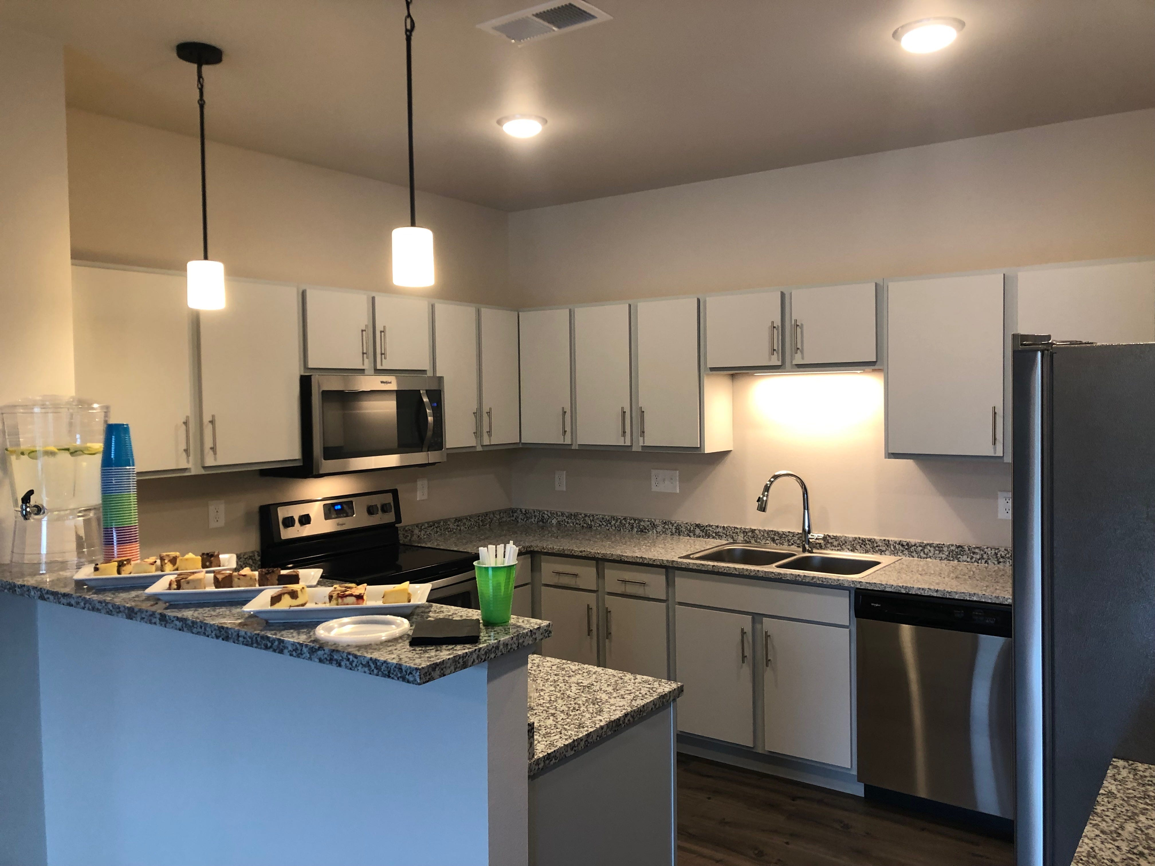 A kitchen in an apartment at the Urban West development.