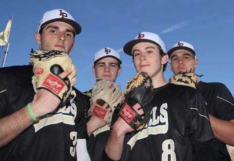 From left, Iona Prep pitchers Chris DiFiore, Jack Keenan, Anthony DeFabbia and Sam Bello are all headed to Division 1 colleges after graduation April 17,  2019.