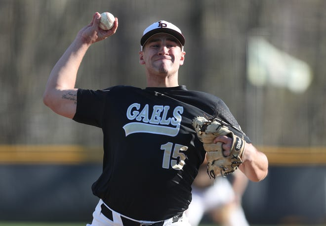 Iona's Sam Bello pitching against Cardinal Hayes during baseball action at Ioan Prep in New Rochelle April 17,  2019. Iona won the game 4-0.