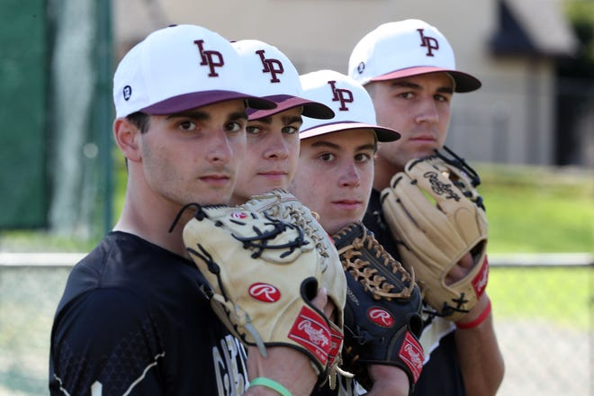 From left, Iona Prep pitchers Chris DiFiore, Jack Keenan, Anthony DeFabbia and Sam Bello are all headed to Division 1 colleges April 17,  2019.