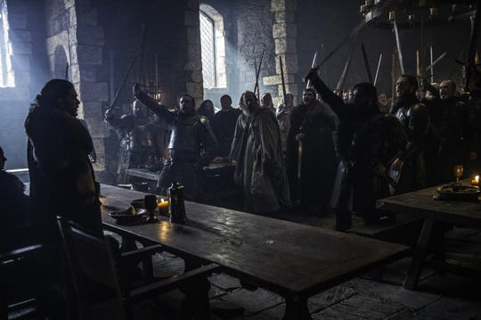 "John Snow, played by Kit Harington, is proclaimed King in the North in Winterfell's great hall in ""Game of Thrones."""
