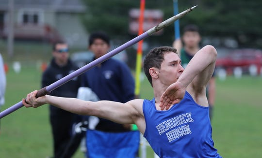 Hendrick Hudson's Beckett Herman won the javelin at the Red Raider Relays at North Rockland April 18, 2019.