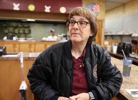 Barbara Thornton of Nyack recalls the events of the day and offers comments about the parole of Judith Clark at Hogan's Nyack Diner on Thursday, April 18, 2019.