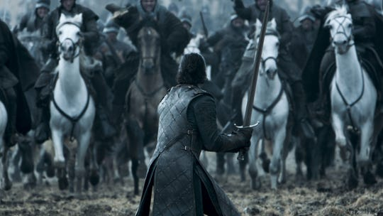 "Jon Snow, played by Kit Harington, during battle in ""Game of Thrones."""