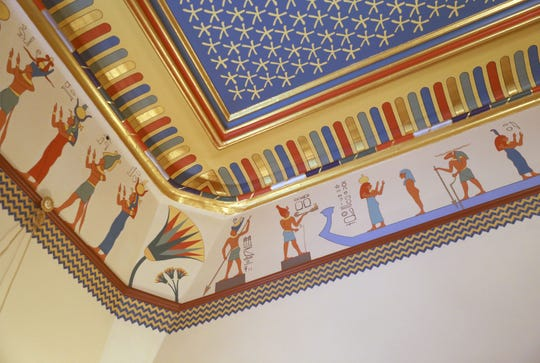 The painted ceiling in the Egyptian Revival Music Room at the Armour-Stiner (Octagon) House in Irvington, April 18, 2019. This unique home, a house museum on the National Register of Historic Places, is now open to visitors.