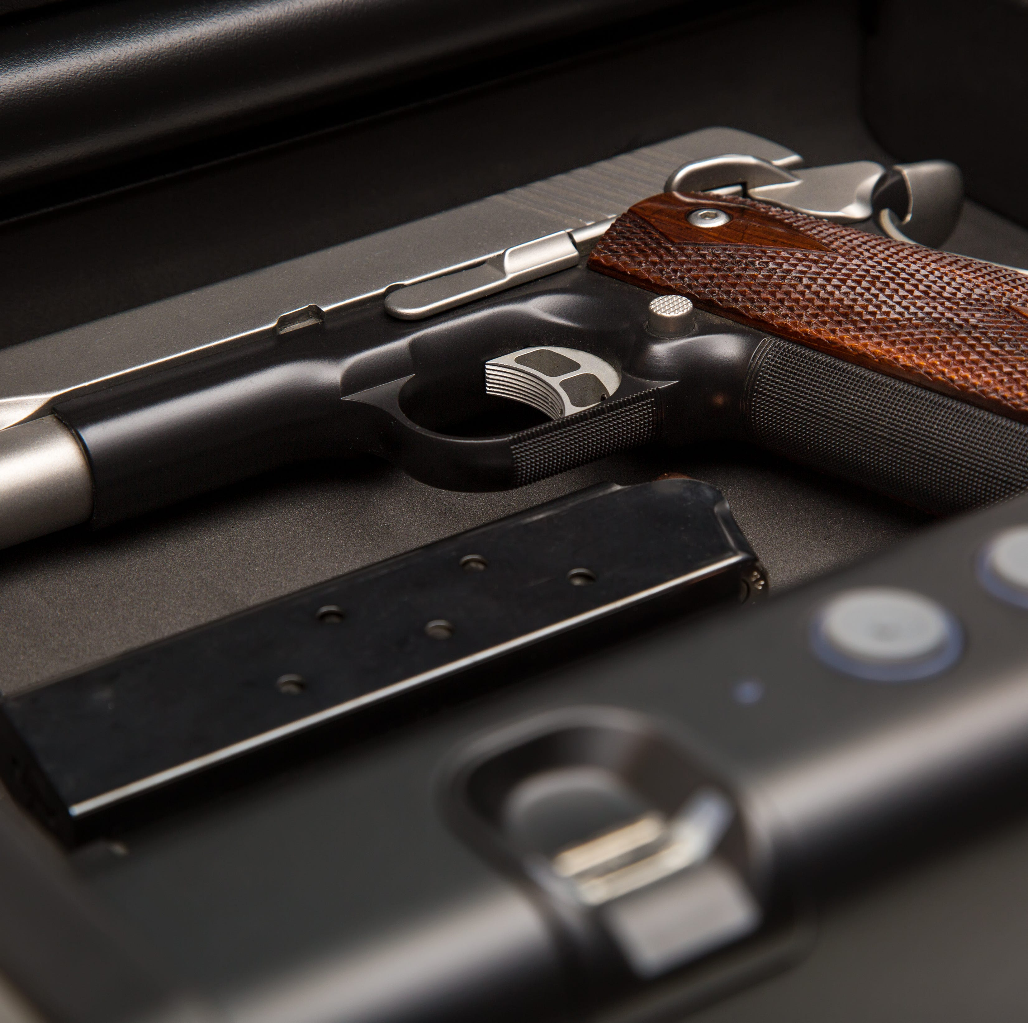 A .45-caliber handgun and loaded clip sits in a fingerprint safe box.