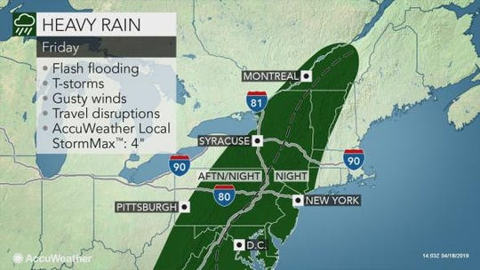 Heavy rains and thunderstorms are expected to affect the East Coast Friday night. It is the second wave of severe weather to reach the coast this week.