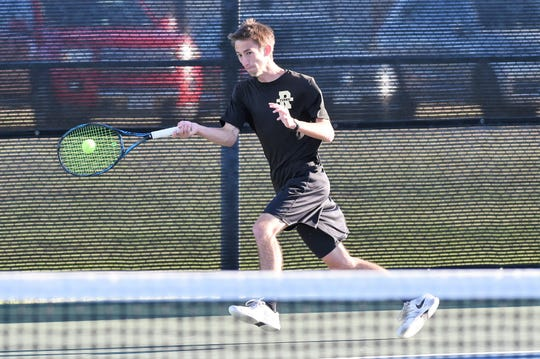 Wichita Falls Rider mixed doubles team Julia Chon and Chris Selsor during the Region I-5A final at the McLeod Tennis Center in Lubbock on Thursday, April 18, 2019.