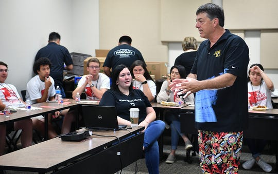 Scott Plowman, owner of Parkway Grill and The Pelican restaurants, speaks to high school seniors about careers in food service during Senior Send-Off Day at Midwestern State University.