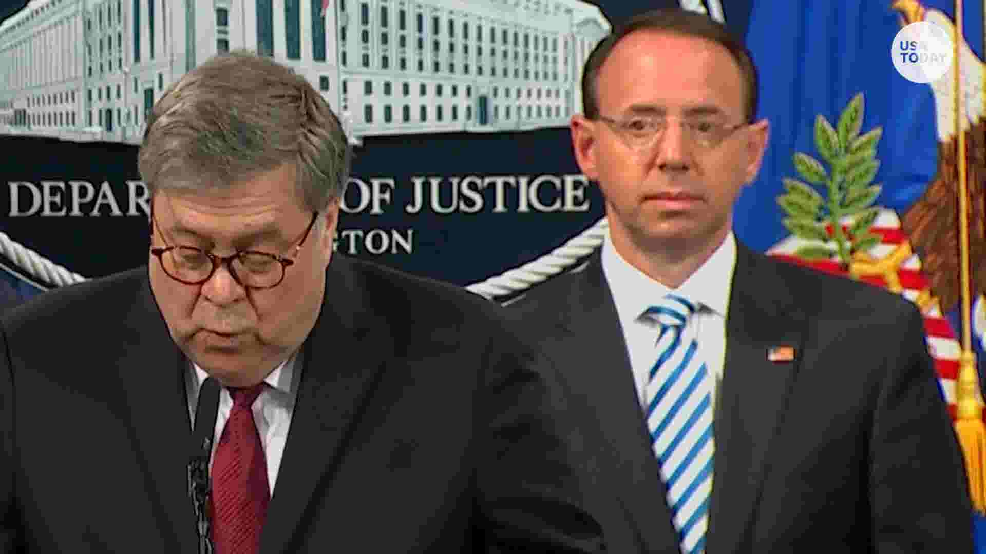 6aab79a696644 Rod Rosenstein looked deadpan as William Barr spoke. And Twitter took note