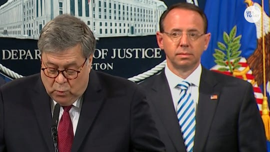 Rod Rosenstein looked deadpan as William Barr spoke. And Twitter took note