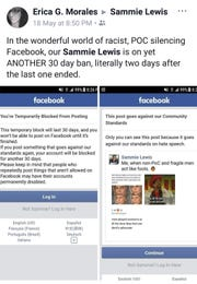 """""""It basically says that we don't matter. The harm being caused to us perpetually, constantly is nothing to (Facebook),"""" Samreen """"Sammie"""" Lewis says. """"They'd much rather shut us up for their own comfort than acknowledge the harm they are causing."""""""