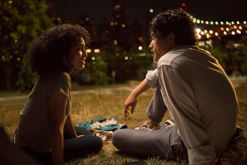 "Natasha (Yara Shahadi) and Daniel (Charles Melton) are strangers who fall for each other during one magical day, as she also fights to keep her Jamaican family from being deported, in the love story ""The Sun Is Also a Star."""