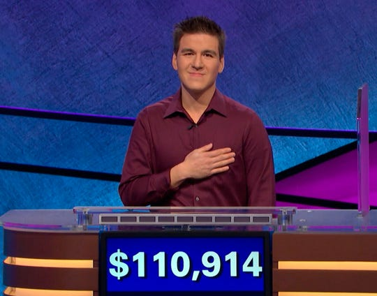 """This image made from video aired on """"Jeopardy!"""" on Tuesday, April 9. 2019, and provided by Jeopardy Productions, Inc. shows James Holzhauer."""