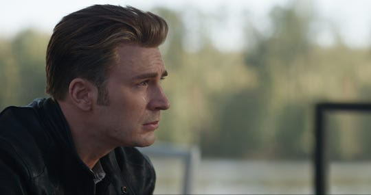 "The losses from ""Infinity War"" have left an emotional Captain America (Chris Evans) reeling in ""Avengers: Endgame."""