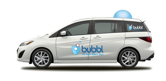 Bubbl branding is all over the vehicle so kids know which car to get into.