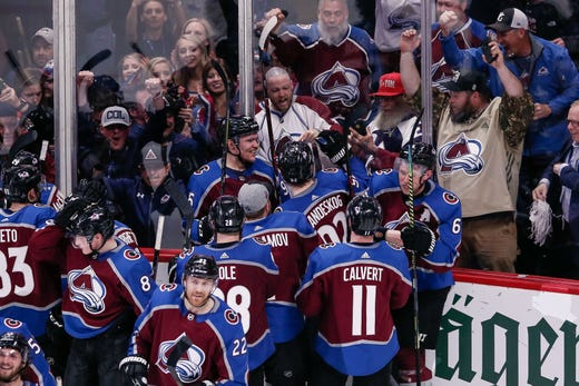 First round: Colorado Avalanche forward Mikko Rantanen (96) celebrates his overtime winner with teammates in Game 4 against the Calgary Flames. Isaiah J. Downing, USA TODAY Sports