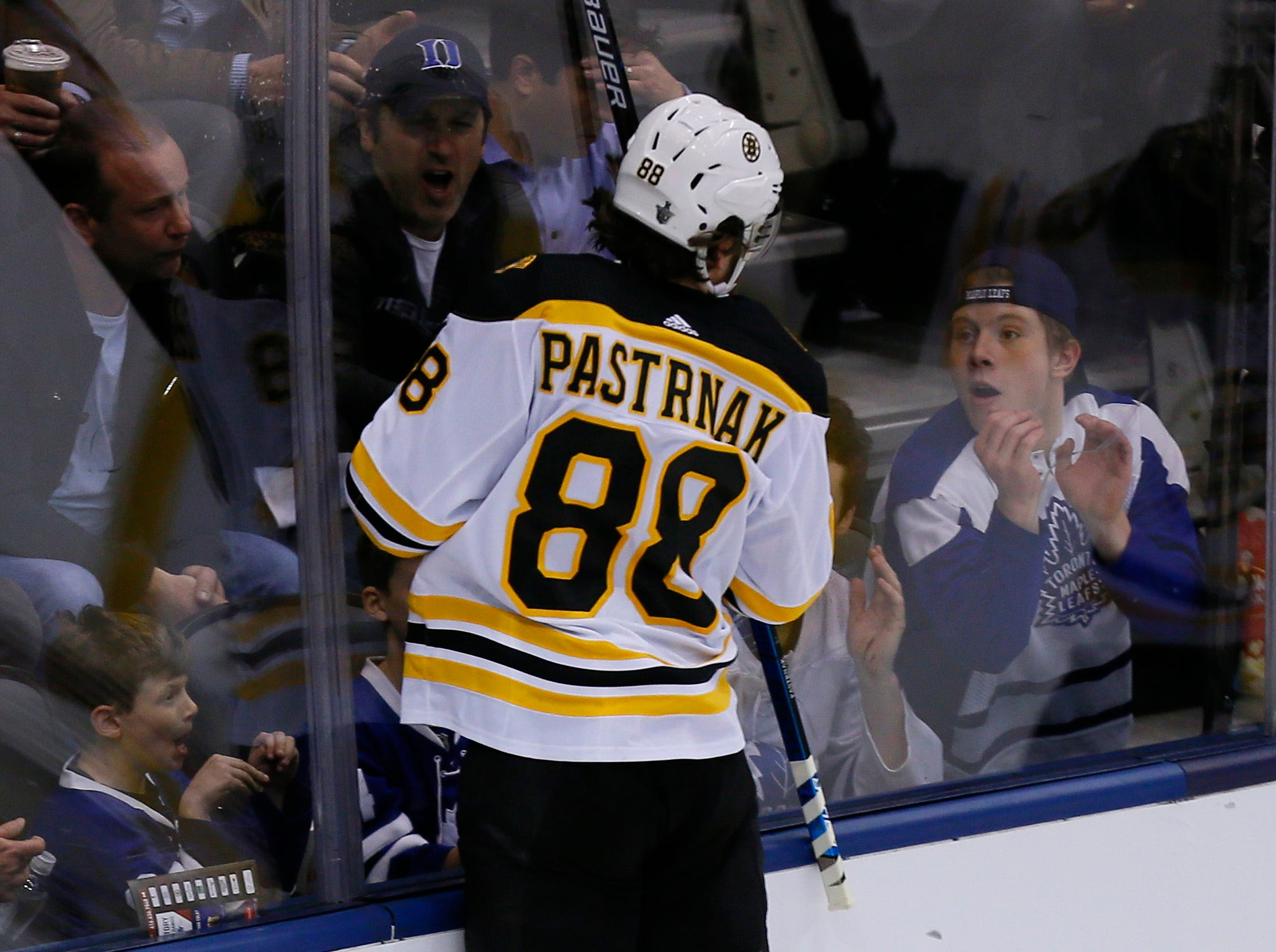 First round: Boston Bruins forward David Pastrnak celebrates after scoring a goal against the Toronto Maple Leafs during the second period of Game 4.