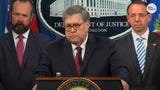 """Reporters ask Attorney General Willilam Barr why Robert Mueller is not in attendance for press conference after announcing """"no collusion"""" by Trump."""