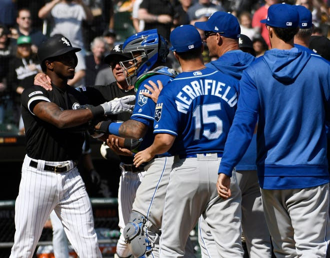 April 17: The Chicago White Sox's  Tim Anderson is restrained after being hit by a pitch against the Kansas City Royals in the sixth inning at Guaranteed Rate Field. The Royals won the game, 4-3.