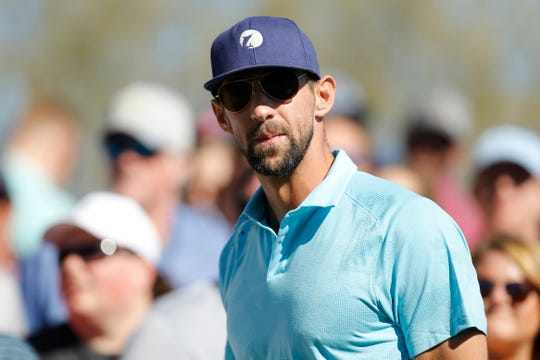 Michael Phelps shown during the second round of the Waste Management Phoenix Open at TPC Scottsdale on Feb. 1, 2019.