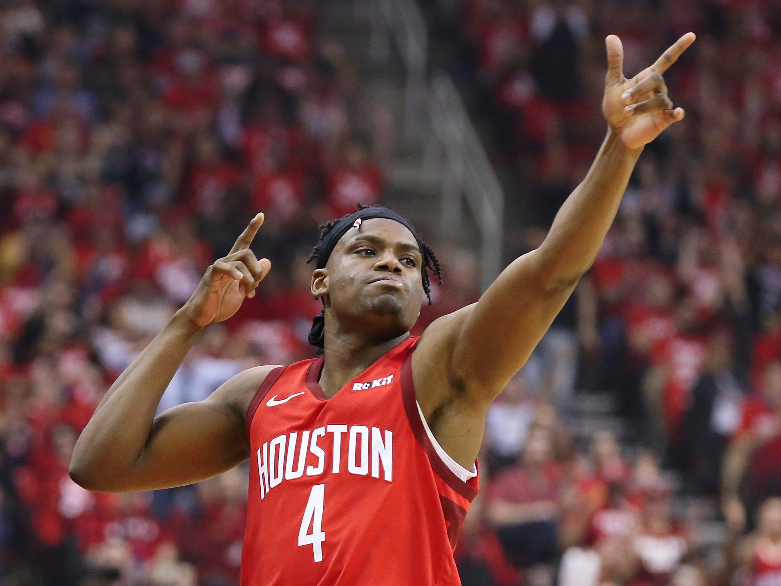 April 17: Rockets forward Danuel House Jr. reacts after making a basket against the Jazz in Game 2 at Toyota Center. The Rockets won the game, 118-98.