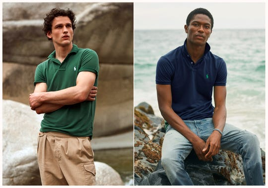 This combination of photos released by Ralph Lauren shows Polo shirts made from recycled plastic bottles.