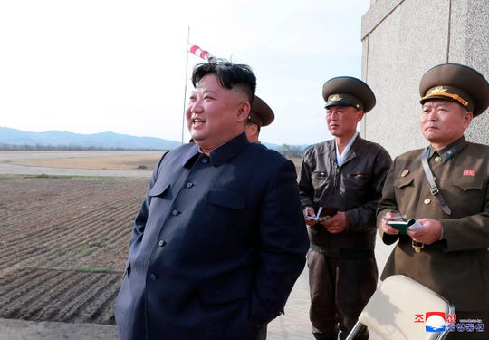 In this April 16, 2019, photo provided by the North Korean government, North Korean leader Kim Jong Un inspects fighter combat readiness of Unit 1017 of the Air and Anti-aircraft Force of the Korean People's Army, in an unknown location in North Korea.