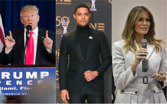 Trevor Noah says he's changed his mind about the member of the Trump family he'd most like to interview. (Photo: Evan Vucci/AP, Mandel Ngan/AFP/Getty Images, Liliane Lathan/Getty Images)