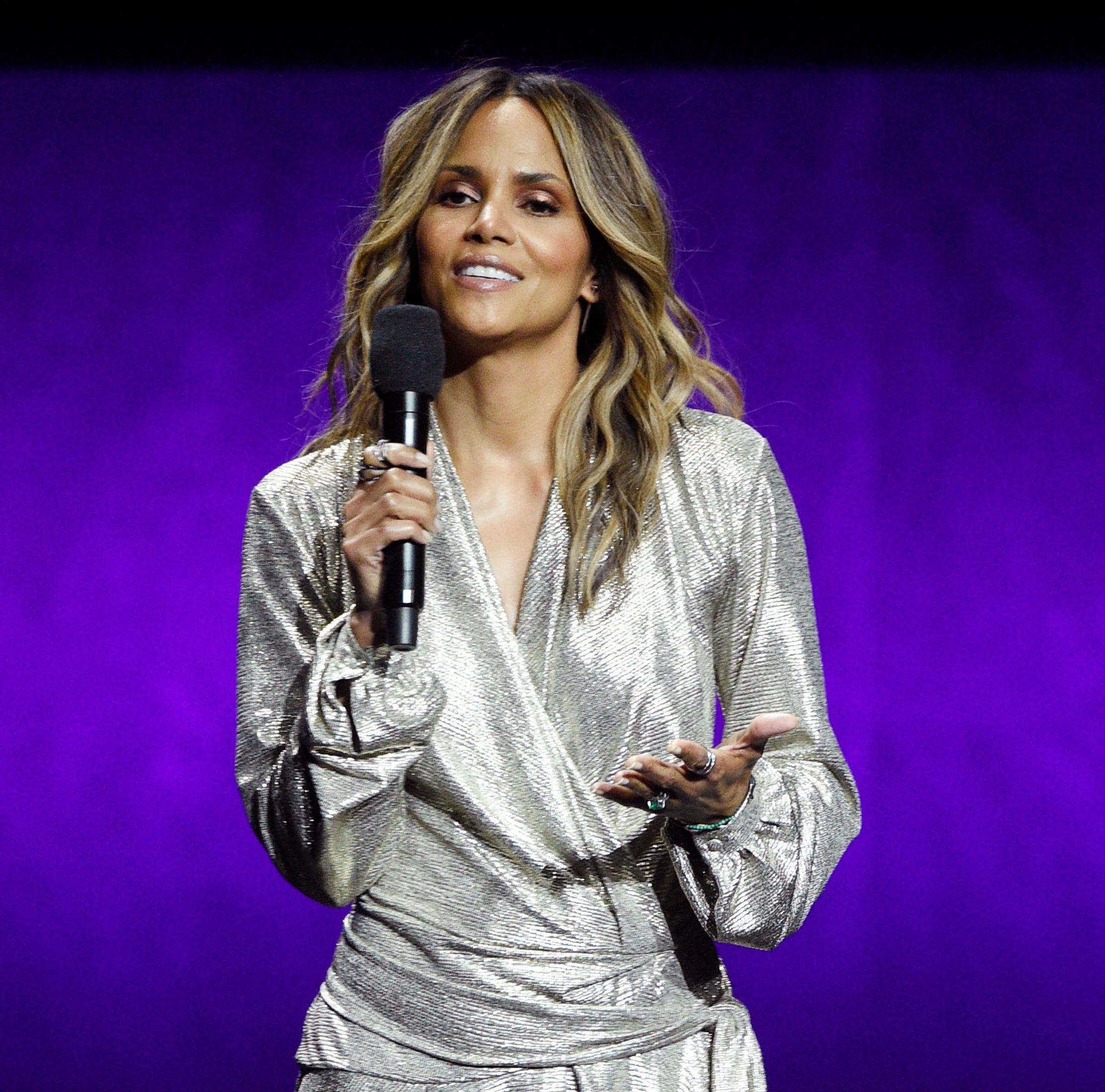 "Halle Berry, a cast member in the upcoming film ""John Wick: Chapter 3 - Parabellum,"" discusses the film during the Lionsgate presentation at CinemaCon 2019 on Thursday, April 4, 2019, in Las Vegas."