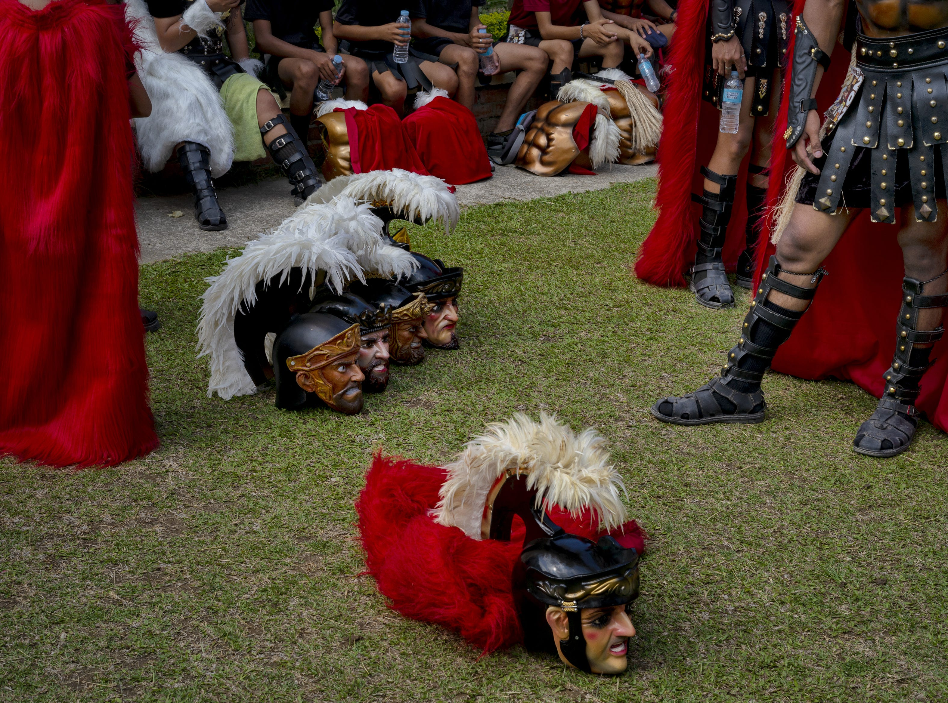 Residents dressed in their own version of Roman soldiers called Moriones, parade the streets as they observe the week of lent on April 18, 2019 in Boac, Marinduque in the Philippines. The Philippines, a predominantly Catholic country in Southeast Asia, join other Catholic nations in observance of holy week.