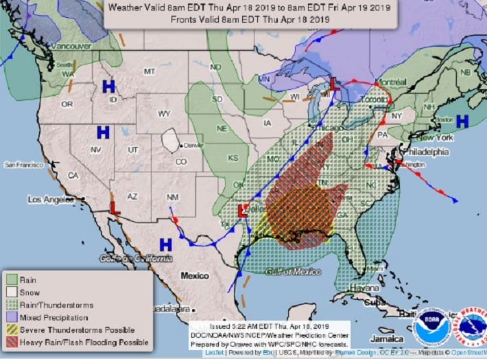 Severe storm system threatens Deep South with strong winds, flooding, tornadoes