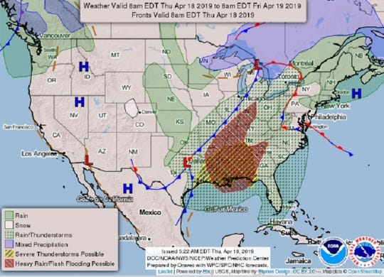 The National Weather Service forecast calls for strong winds, flooding and likely tornadoes across the South through Friday.