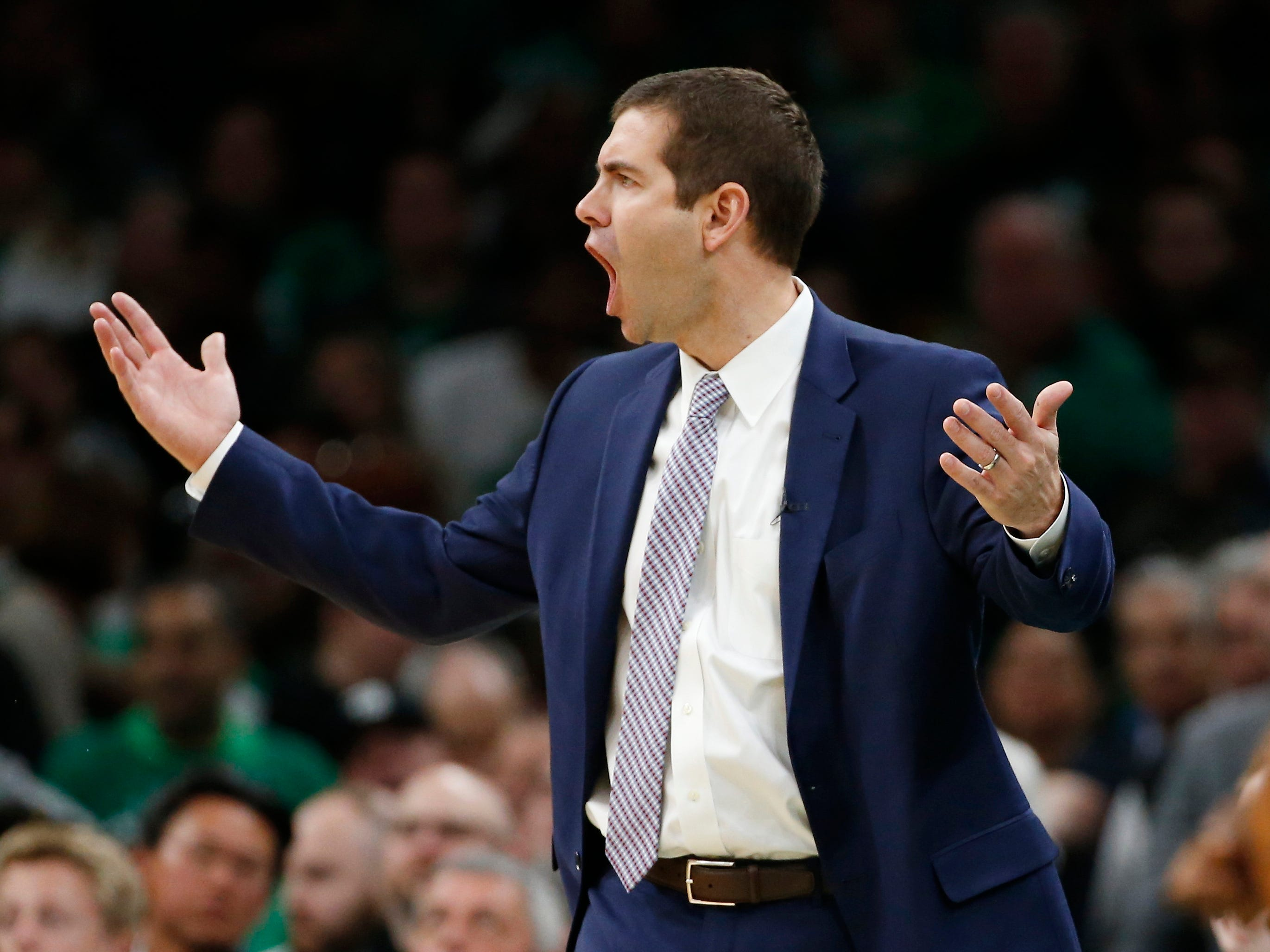 April 17: Celtics head coach Brad Stevens reacts to a call during the second half of Game 2 against the Pacers.