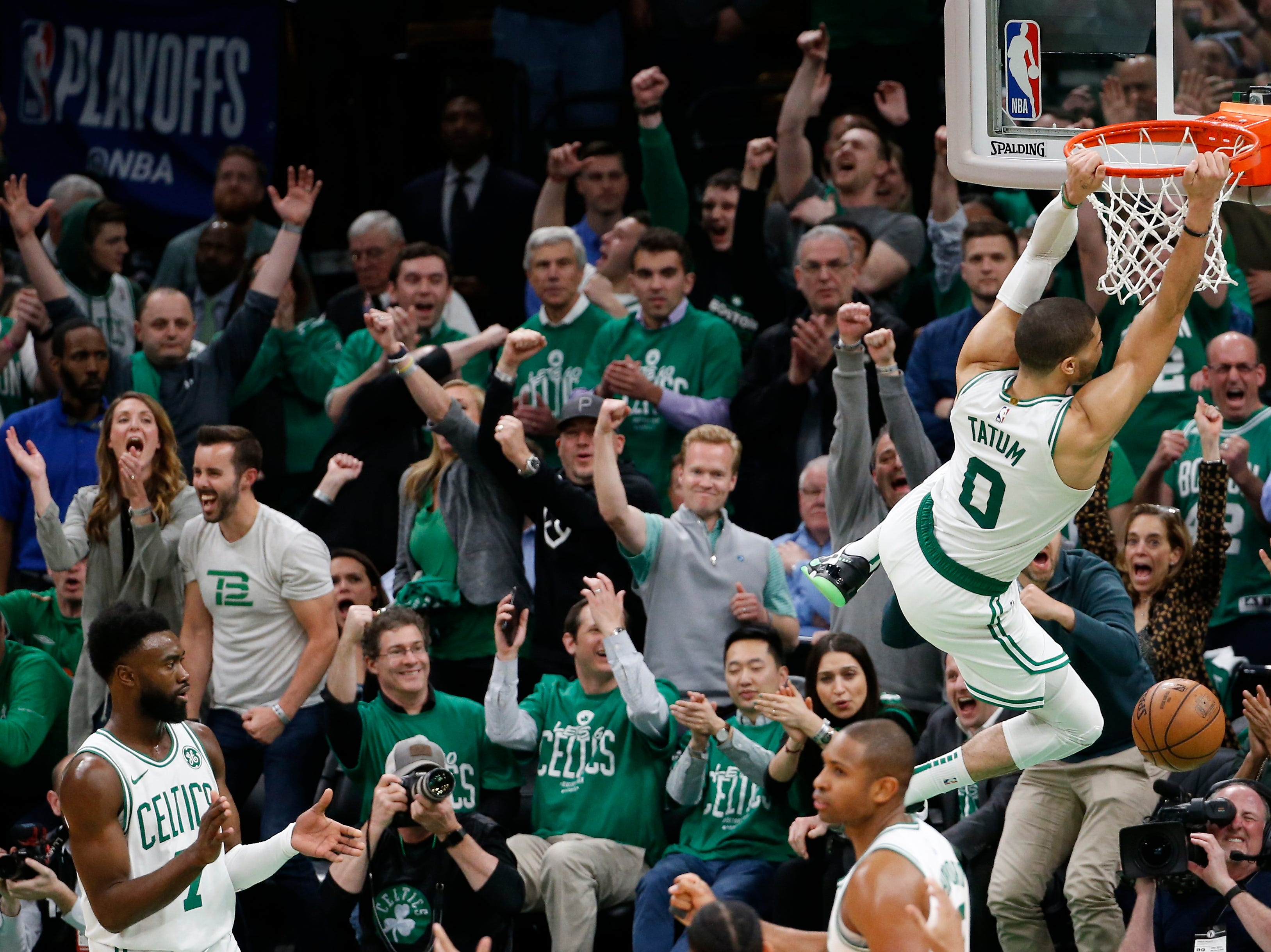 April 17: Celtics forward Jayson Tatum throws down a dunk during Game 2 against the Pacers. Tatum scored 26 points as Boston rallied for a 99-91 win.