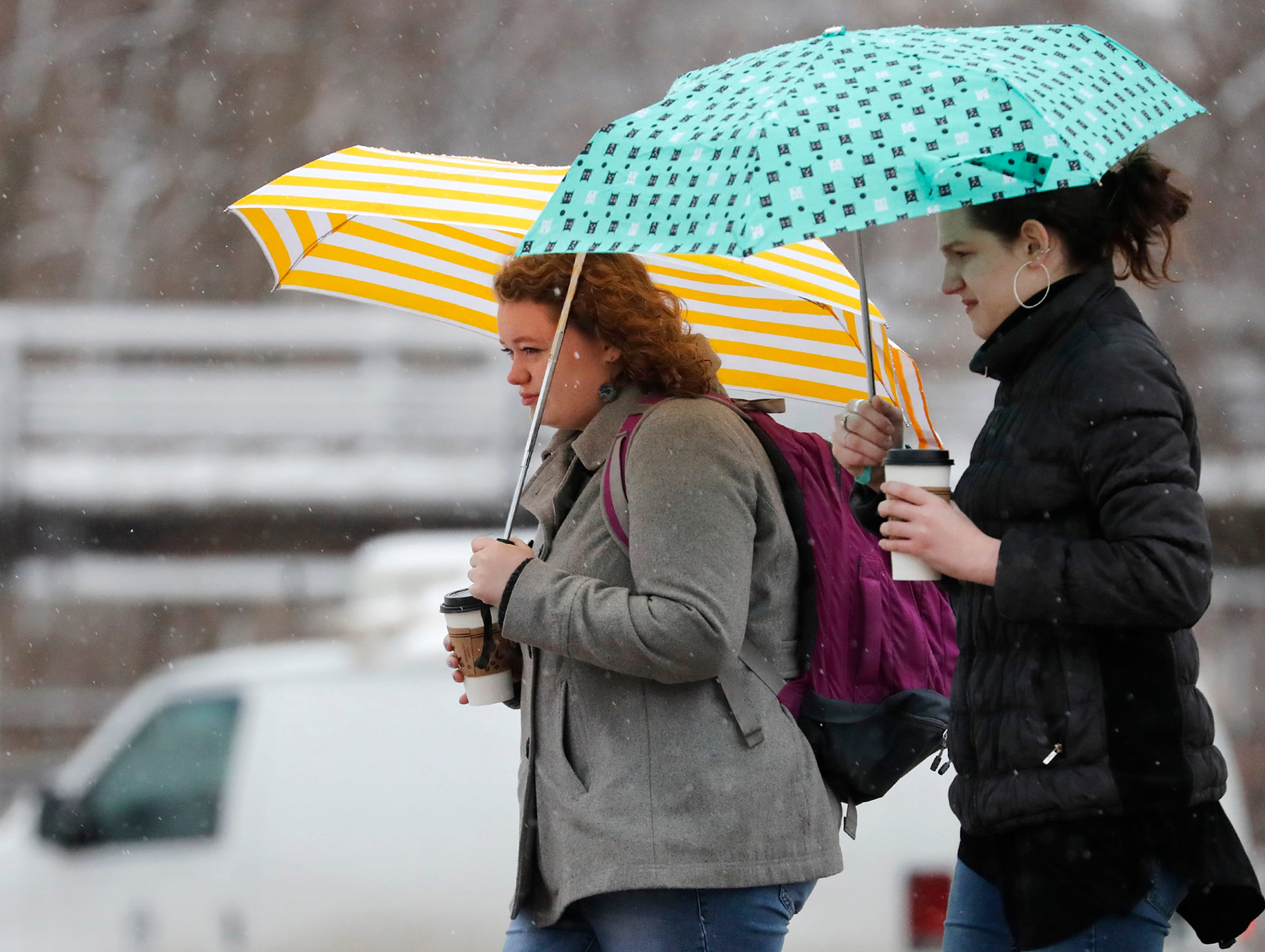 Emma Milton and Melanie Aiken, students at Lawrence University, walk back to campus through freezing rain after picking up coffee Thursday, April 11, 2019, in Appleton, Wis. Danny Damiani/USA TODAY NETWORK-Wisconsin
