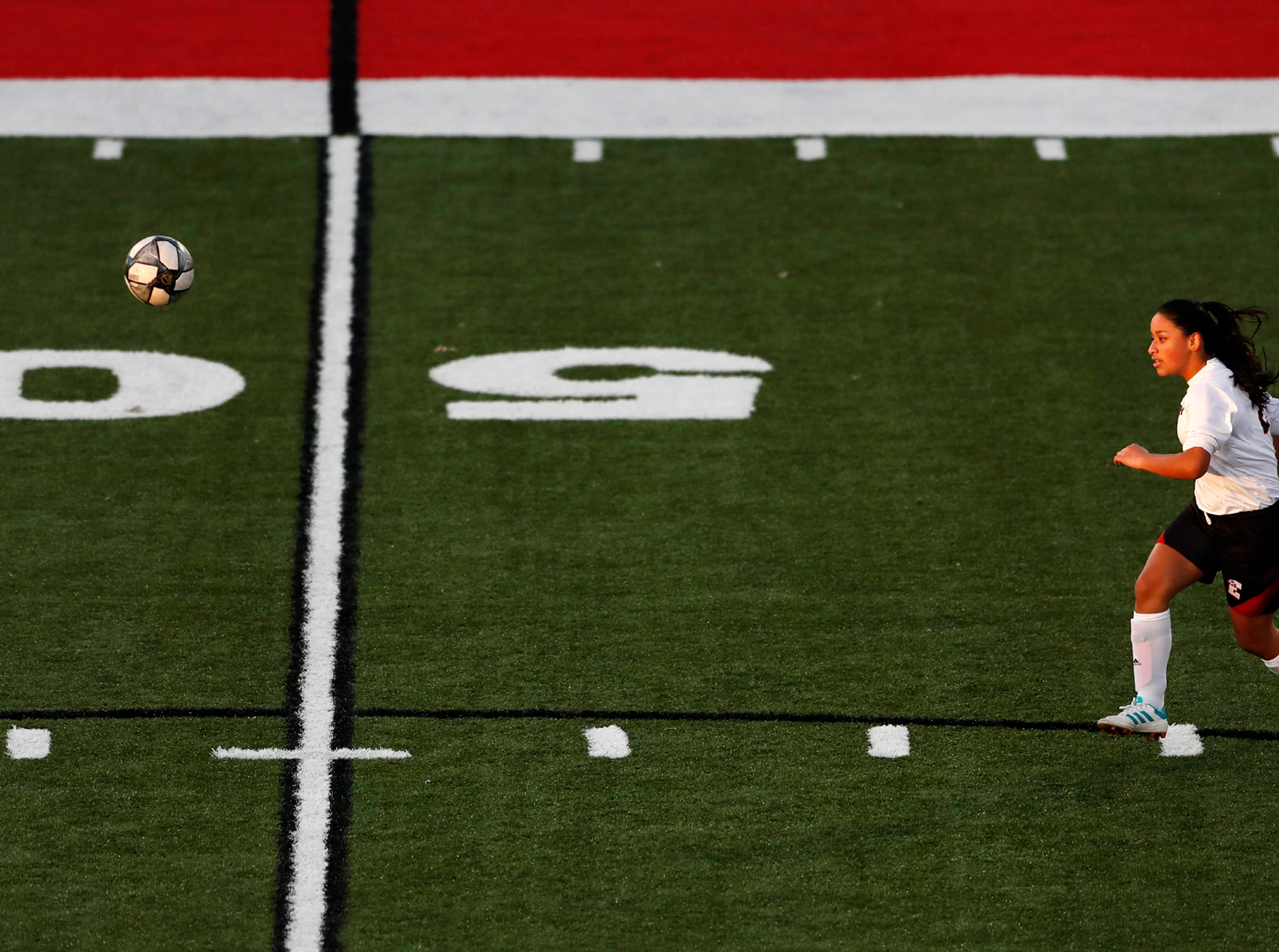 Green Bay East High School's Adriana Montoya Valdez sends a free kick down the field during their match against Hortonville High School Monday, April 8, 2019, in Hortonville, Wis. Danny Damiani/USA TODAY NETWORK-Wisconsin