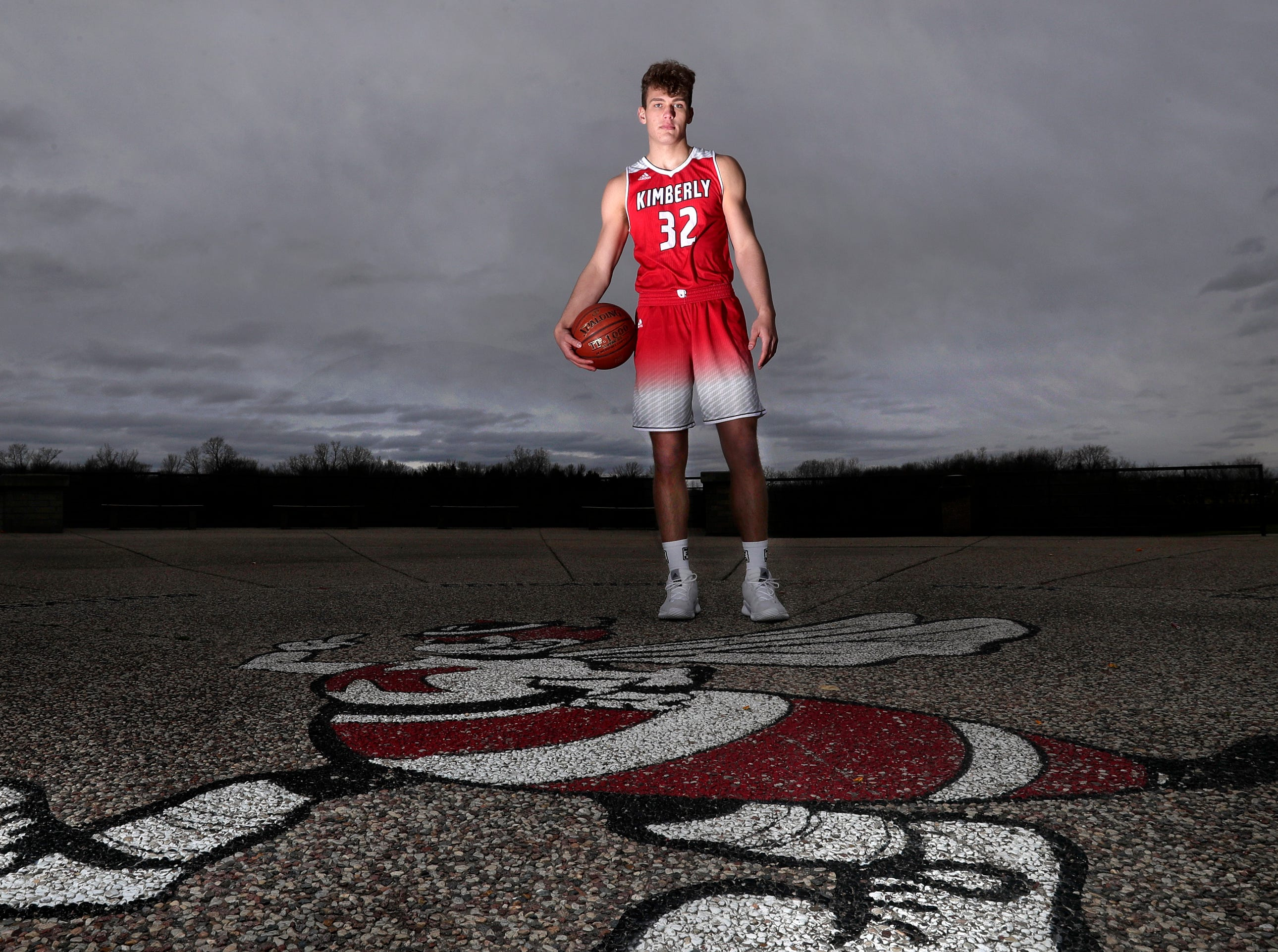 Kimberly High School's Levi Nienhaus-Borchert. The Post-Crescent athlete of the year in boys basketball.Wednesday, April 10, 2019, in Kimberly, Wis. Wm. Glasheen/USA TODAY NETWORK-Wisconsin.
